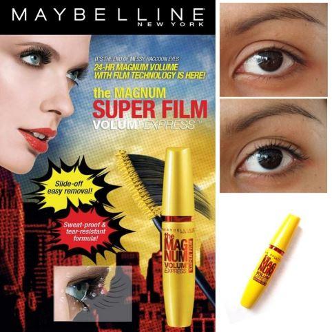 **พร้อมส่ง**Maybelline The Magnum Volum Express Super Film-Black สุดยอดแห่งนวัตกรรมมาสคาร่าเพื่อขนตาหนาโดดเด้ง ด้วยเนื้อฟิล์มสีดำของมาสคาร่า จะตรงเข้าเคลือบขนตาให้หนาสุดขั้วเด้งสุดขีด ช่วยให้ขนตาแลดูซุปเปอร์หนาอย่างไม่เลอะเปื้อนยาวนานตลอดวัน  แต่สามารถล้า