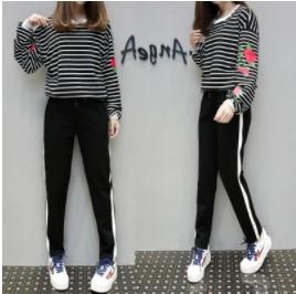 เสื้อคอกลม แขนยาว + กางเกงขายาว ทรงเดฟ มีีสี  ดำ มีไซส์ XL/2XL/3XL/4XL/5XL