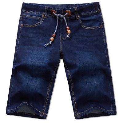 ขนาด:38 40 42 44 46 48 สี:ตามแบบ กางเกงยีนส์ยืด ขาสั่น เอวผูก กางเกงคนอ้วน กางเกงผู้ชาย ขนาดใหญ่