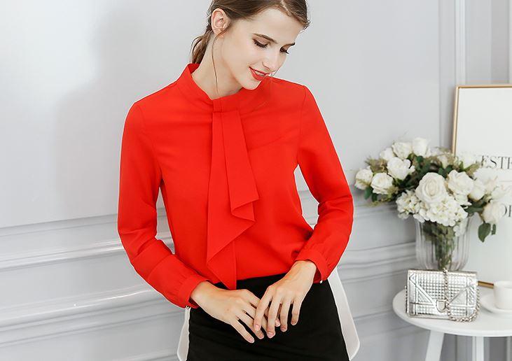 เสื้อ ชีฟอง แขนยาว คอกลม มีสี ขาว/แดง/มีไซส์ S/M/L/XL/2XL