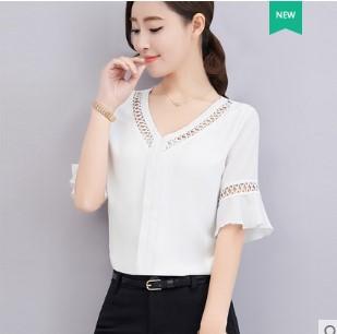 เสื้อคอวี แขนสั้น ผ้าชีฟอง มี3สี ขาว/ชมพู/คาราเมล มีไซส์ S/M/L/XL/2XL
