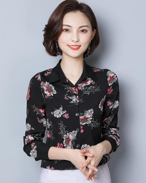 พรีออเดอร์ เสื้อเชิ้ต คอปก แขนยาว ลายดอกไม้ ชุดทำงานผู้หญิง เสื้อผ้าแฟชั่นสวย ๆ เกาหลี สี กรม ดำ ขาว