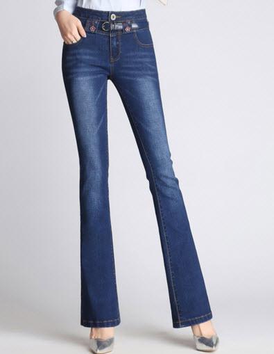 พรีออเดอร์ กางเกงขายาว กางเกงกันหนาว กางเกงแฟชั่น ผ้ายีนส์มีบุด้านใน ขาม้า ผ้าใส่สบาย สี ดำ  ยีนส์เข้ม