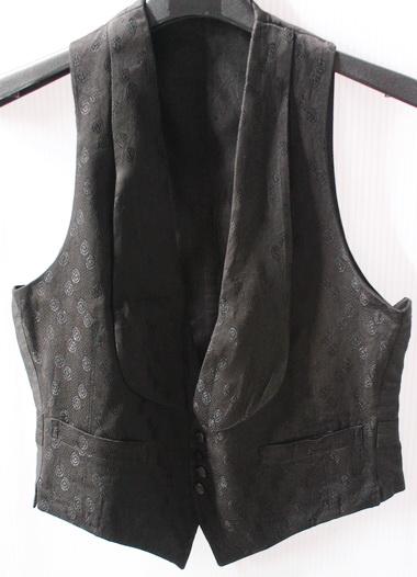 รอบอก 35 เสื้อผ้าผู้หญิง เสื้อกั๊กแฟชั่น เสื้อกั๊กสูท ปกกล้วยหอม ผ้าทอลายสีดำ มีซับใน