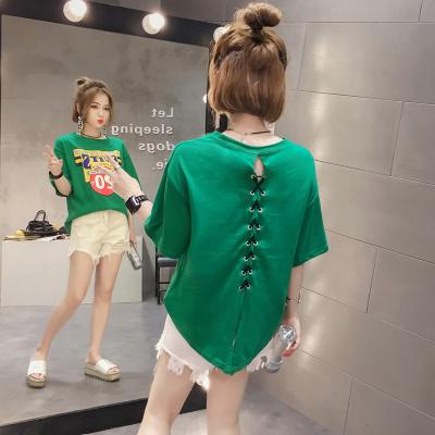 เสื้อแฟชั่นผู้หญิง เสื้อยืดแฟชั่นถักด้านหลัง เสื้อแฟชั่นเกาหลี