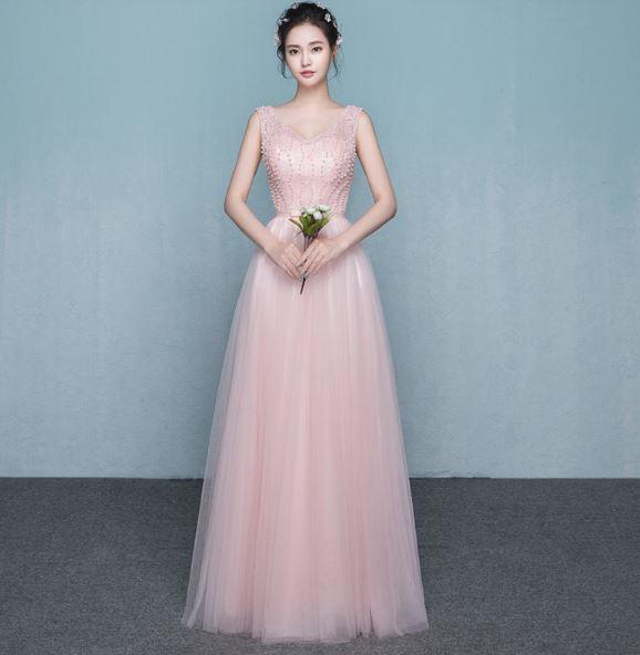 เสื้อผ้าผู้หญิง ชุดออกงาน ชุดราตรี ราตรียาวสีชมพูตามรูป