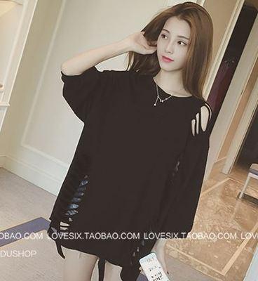 เสื้อผ้าผู้หญิง ราคาถูก เสื้อยืดแขนสั้น เกาหลี มี สีดำ สีชมพู สีแดง มี ฟรีไซร์