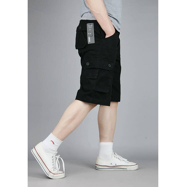 ขนาด:38 40 42 44 46 สี:ดำ/กากี กางเกงคนอ้วน กางเกงผู้ชาย ขนาดใหญ่ กางเกงขาสั้น