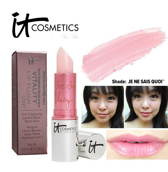**พร้อมส่ง**It Cosmetics Vitality Lip Flush 4 in 1 Reviver Lipstick Stain #Je Ne Sais Quoi 3.40 g. ลิปสติกที่ได้รวมคุณสมบัติของ 4 ผลิตภัณฑ์ไว้ในแท่งเดียว เป็นทั้งลิปสติก ลิปบาล์ม  ลิปกลอส และลิปสเตน แต่งแต้มสีชมพูอ่อนๆสดใสเป็นธรรมชาติให้แก่เรียวปาก เนื้อเ