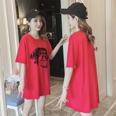 เสื้อผ้าผู้หญิง ราคาถูก เสื้อยืดแขนสั้น ยาวหลวม มี สีแดง มี ไซร์ M L XL