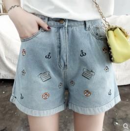 กางเกงขาสั้น ผ้ายีนส์ มีสี ฟ้า มีไซส์ XL/2XL/3XL/4XL/5XL