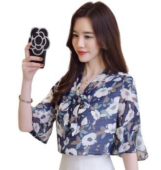 เสื้อคอวี แขนสามส่วน ผ้าชีฟอง มี่3สี ขาว/น้ำเงิน/ชมพู มี่ไซส์ M/L/XL/2XL/3XL