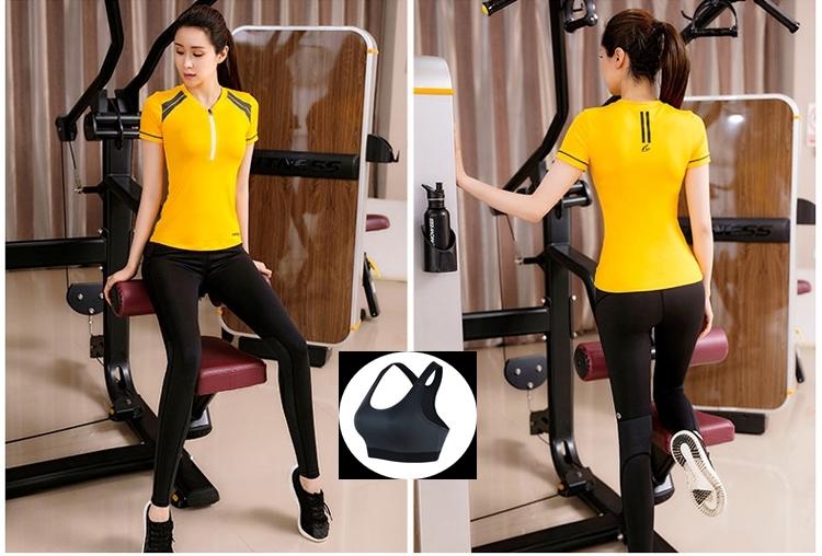 **พร้อมส่ง size M สีเหลือง ชุดออกกำลังกาย/โยคะ/ฟิตเนส เสื้อแขนสั้น+บรา+กางเกงขายาว
