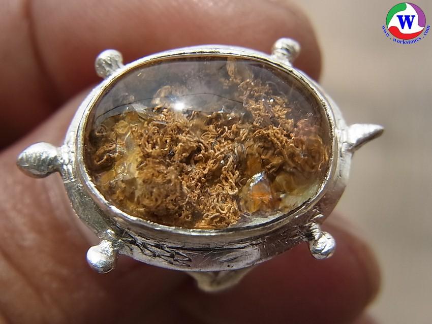 เครื่องประดับ แหวนเงินเต่า เบอร์ 55 แก้วโป่งข่ามนำโชคชนิดแก้วปวกสีทอง กาบทอง กาบรุ้ง