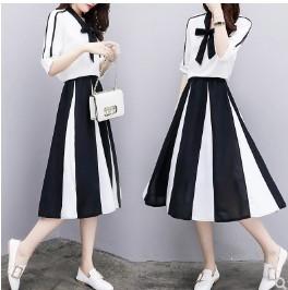 เสื้อแขนสามส่วน ผ้าชีฟอง + กระโปรงยาว ผ้าชีฟอง มีสี ขาว มีไซส์ XL/2XL/3XL/4XL/5XL