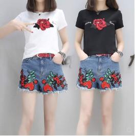 กางเกงขาสั้น ผ้ายีนส์ ปักลาย มีสี น้ำเงิน มีไซส์ L/XL/2XL/3XL/4XL/5XL