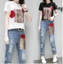 เสื้อคอกลม แขนสั้น + กางเกงขายาว ผ้ายีนส์ มี2สี ขาว/ดำ มีไซส์ M/L/XL/2XL/3XL/4XL/5XL