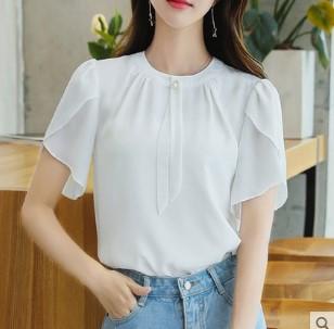 เสื้อคอกลม แขนสั้น ผ้าชีฟอง มีสี ขาว มีไซส์ S/M/L/XL/2XL