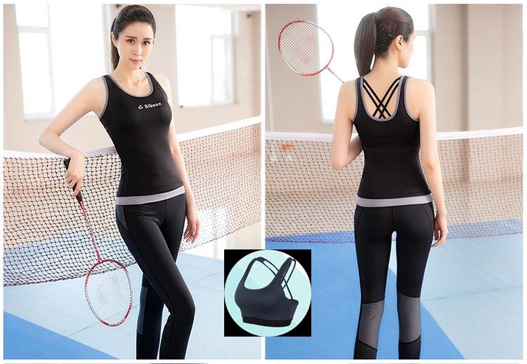 **พร้อมส่ง  สีดำ size XL ชุดออกกำลังกาย/โยคะ/ฟิตเนส เสื้อกล้าม+บรา+กางเกงขายาว
