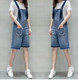 เอี๊ยมกางเกง ขาสามส่วน ผ้ายีนส์ มีสี ฟ้า มีไซส์ XL/2XL/3XL/4XL/5XL