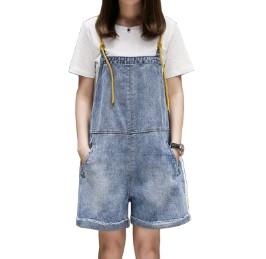 เอี๊ยมกางเกงขาสั้น ผ้ายีนส์ มีสี ฟ้า มีไซส์ XL/2XL/3XL/4XL/5XL