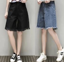 กางเกงขาสามส่วน ผ้ายีนส์ มี2สี ดำ/ฟ้า มีไซส์ XL/2XL/3XL/4XL/5XL