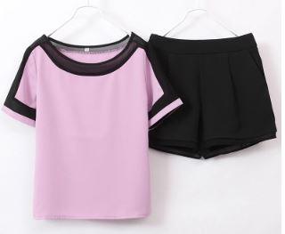 เสื้อคอกลม แขนสั้น มี3สี ขาว/เหลือง/ชมพู + กางเกงขาสั้น ผ้าชีฟอง มีสีดำ มีไซส์ S/M/L/XL/2XL