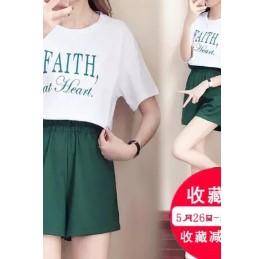 เสื้อคอกลม แขนสั้น + กางเกงขาสั้น เอวยางยืด มีสี เขียว มีไซส์ XL/2XL/3XL/4XL/5XL
