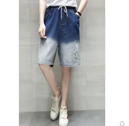 กางเกงขาสามส่วน เอวยางยืด ผ้ายีนส์ มีสี น้ำเงิน มีไซส์ XL/2XL/3XL/4XL/5XL