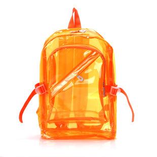(พร้อมส่งสีส้ม) กระเป๋าใส กระเป๋าเป้สะพายหลังแบบใส กระเป๋าใสกันน้ำ