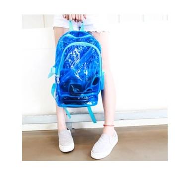 (พร้อมส่งสีฟ้า) กระเป๋าใส กระเป๋าเป้สะพายหลังแบบใส กระเป๋าใสกันน้ำ