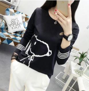 เสื้อคอกลม แขนยาว มี2สี ขาว/ดำ มีไซส์ M/L/XL