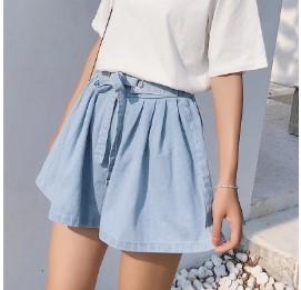 กางเกงขาสั้น ผ้ายีนส์ มี2สี น้ำเงิน/ฟ้า ฟรีไซส์