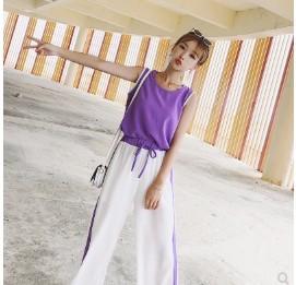 เสื้อคอกลม แขนกุด + กางเกงขายาว เอวยางยืด มี2สี ดำ/ม่วง ฟรีไซส์
