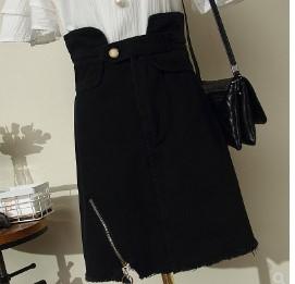 กระโปรงสั้น ผ้ายีนส์ มีสี ดำ มีไซส์ L/XL/2XL/3XL/4XL
