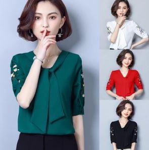 เสื้อคอวี แขนสั้น ผ้าชีฟอง มี5สี ขาว/แดง/เขียว/เหลือง/ดำ มีไซส์ M/L/XL/2XL/3XL