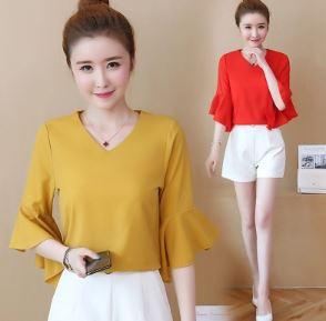 เสื้อคอวี แขนสามส่วน มี4สี ขาว/เหลือง/แดง/ชมพู มีไซส์ M/L/XL/2XL