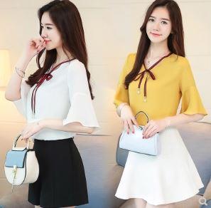 เสื้อคอวี แขนสามส่วน มี3สี ขาว/ฟ้า/เหลือง มีไซส์ M/L/XL/2XL/3XL