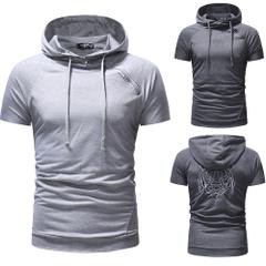 เสื้อผ้าผู้ชาย ผู้หญิง ราคาถูก เสื้อยืดแขนสั้น มีฮู้ด เท่ๆ มี สีเทา สีหมอก มี ไซร์ M L XL 2XL