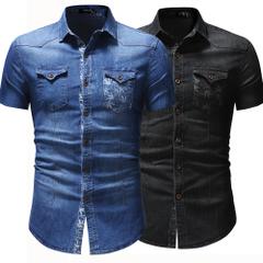 เสื้อผ้าผู้ชาย ผู้หญิง ราคาถูก เสื้อเชิ๊ตแขนสั้น ผ้ายีนส์ มี สีน้ำเงิน สีดำ มี ไซร์ M L XL 2XL 3XL