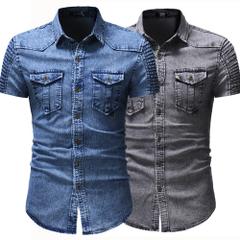 เสื้อผ้าผู้ชาย ผู้หญิง ราคาถูก เสื้อเชิ๊ตแขนสั้น ผ้ายีนส์ มี สีน้ำเงิน สีเทา มี ไซร์ M L XL 2XL 3XL