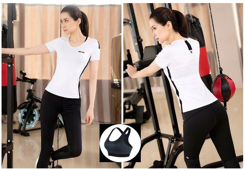 **พร้อมส่ง size L  สีขาว ชุดออกกำลังกาย/โยคะ/ฟิตเนส เสื้อแขนสั้น+บรา+กางเกงขายาว