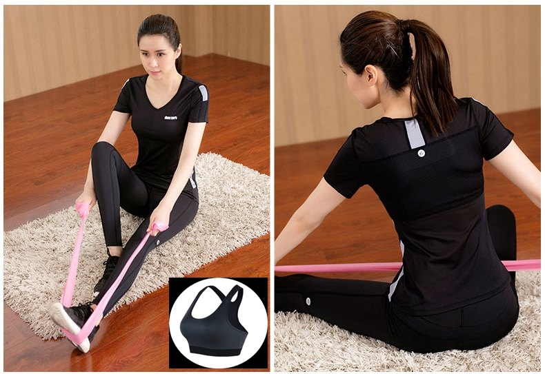 **พร้อมส่ง size M  สีดำ ชุดออกกำลังกาย/โยคะ/ฟิตเนส เสื้อแขนสั้น+บรา+กางเกงขายาว
