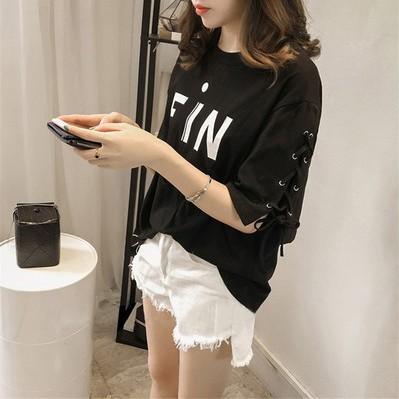 เสื้อยืดแฟชั่น เสื้อแขนสั้นเกาหลี เสื้อแฟชั่นถักแขน