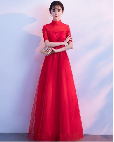 เสื้อผ้าผู้หญิง ชุดออกงาน ชุดราตรี ชุดราตรียาว สีแดงตามรูป