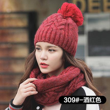 หมวกกันหนาวผู้หญิง หมวกไหมพรมกันหนาว+ผ้าพันคอกันหนาว