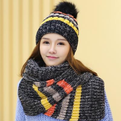 หมวกกันหนาวผู้หญิง หมวกไหมพรมกันหนาว + ผ้าพันคอกันหนาว