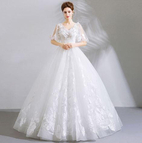 เสื้อผ้าแฟชั่น เสื้อผ้าผู้หญิง ชุดแต่งงานสีขาวตามรูป