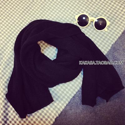 (พร้อมส่งสีดำ) ผ้าพันคอไหมพรม ผ้าพัรคอกันหนาว ผ้าผันคอแฟชั่น