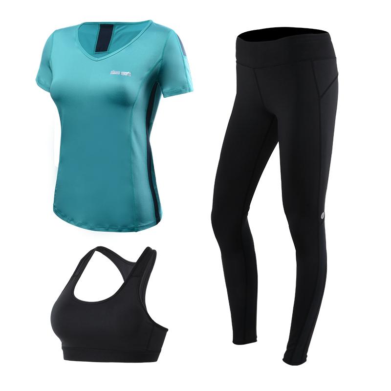 **3ชิ้น  size M/L/XL  สีฟ้าอมเขียว ชุดออกกำลังกาย/โยคะ/ฟิตเนส เสื้อแขนสั้น+บรา+กางเกงขายาว